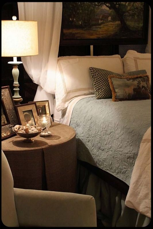 Country English Bedroom with both masculine and feminine appeal.