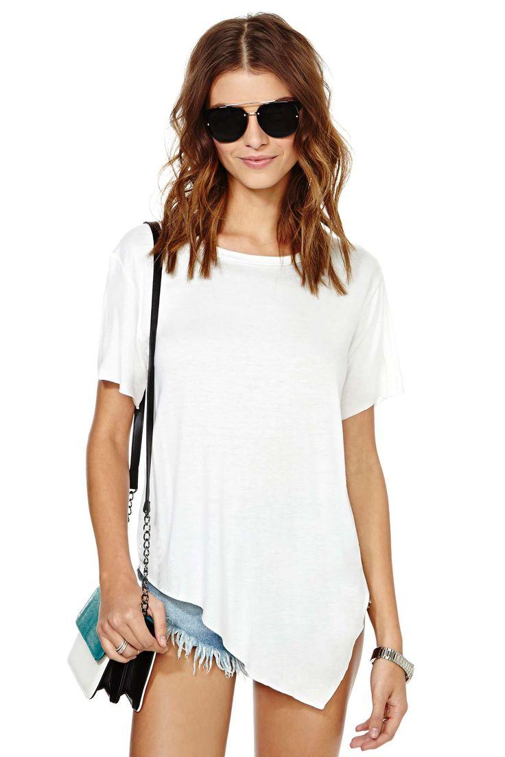 Camiseta suelta asimétrica manga corta-blanco 8.22