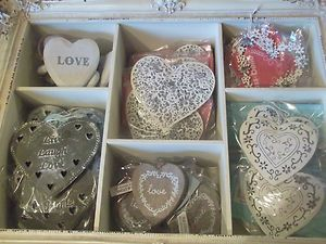 Vintage Style Hanging Hearts Wedding Favours Decorations Metal Wood Chic | eBay