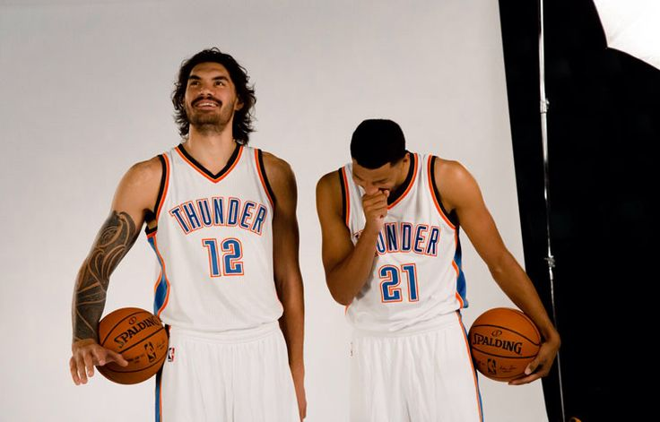 : Steven Adams and Andre Roberson shares some laughs during a photoshoot together.