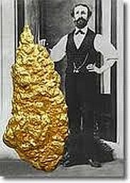 On 19 October, 1872, the Holtermann's nugget was found in Australia. It is the largest specimen of gold ever found, measuring 150 x 66 cm, weighing 286 kg and with an estimated gold content of 5000 ounces (57 kg). Entire shiploads of prospectors bound for California took a U-turn to rush down under. The resultant infrastructure and population boom shaped Victoria and especially Melbourne city. Holtermann invested  wisely, building a magnificent mansion in Sydney, depicting nugget and himself