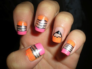Back to school nails done by an amazing nail blogger! Visit her site for more creative designs like this!