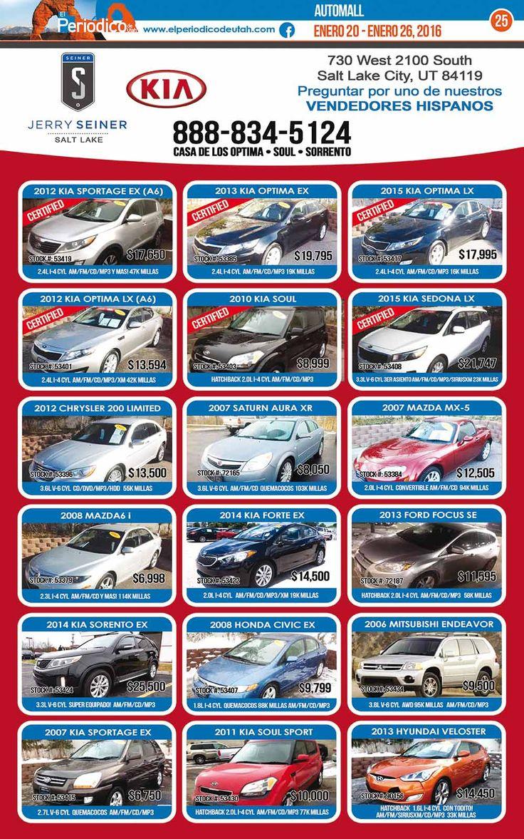 Jerry Seiner Kia - Inventario del 20 al 26 de Enero  http://www.elperiodicodeutah.com/2016/01/auto-mall/jerry-seiner-kia-inventario-del-20-al-26-enero/