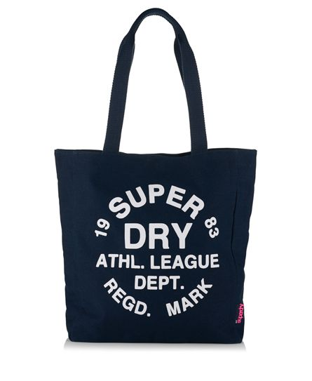 #superdry Superdry Athletic League canvas tote bag. A durable tote bag featuring an inner cotton lining as well as popper fastening to keep your contents secure. The bag also comes with two sturdy handles and a Superdry Athletic League logo print on one side. The tote bag is finished with a By Superdry logo tab on the side seam. Approximate volume of 10 litres. H 37cm x L 32cm x D 9cm 318524450006311S007 Navy Condition | new