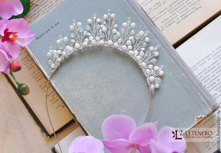 Купить Свадебная диадема, ободок из речного жемчуга - голубой, украшение для невесты, украшение свадебное