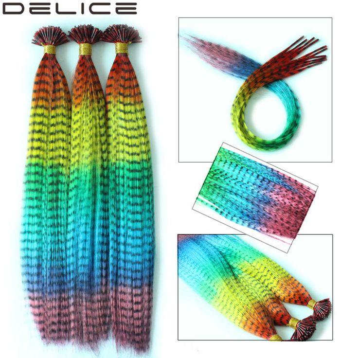 10 fios/50 s/100 s/lote, mulheres Rainbow Multicolor Reta Rosster Grizzly Penas Extensões de Cabelo Gradiente de Cor Com Contas Livre