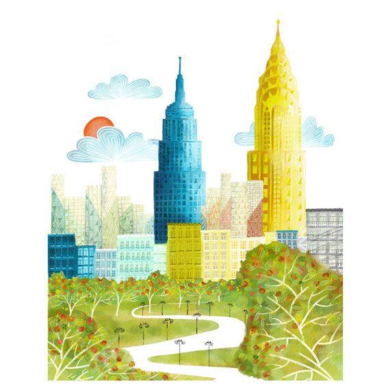 Impresión del arte de la pared de la Skyline de Nueva York