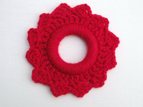 Garnet red crochet photo frame by BabanCat on Etsy, $15.00
