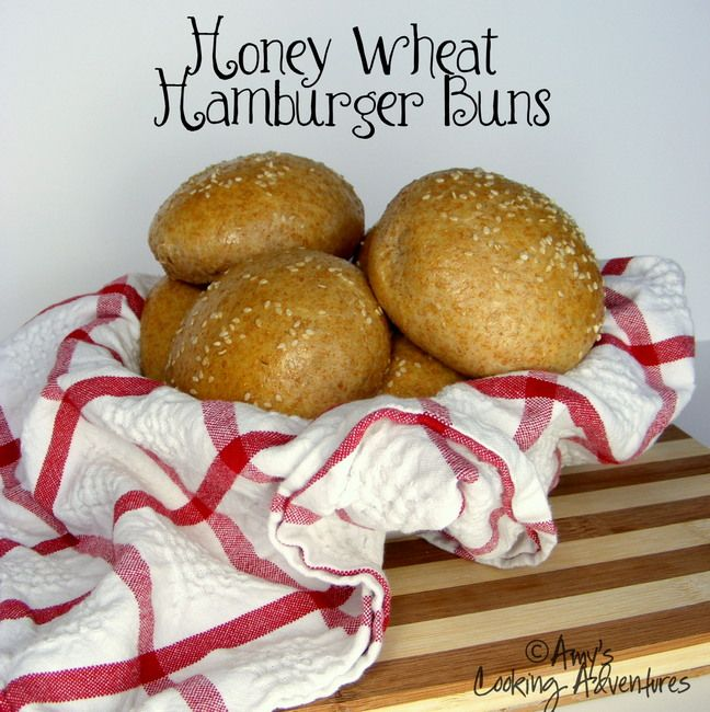 Honey Wheat Hamburger Buns by @Amy | Amy's Cooking Adventures: Breads Bliss, Break Breads, Breads Recipes, Breads Breads, Breads Buns, Breads Crazy, Favorite Recipes Breads, Breads Muffins, Breads Brunch