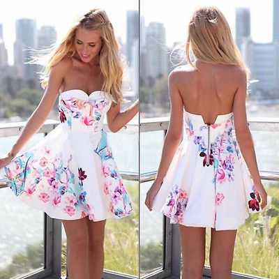 Sexy-Damen-Ärmellos-Blumendruck-Kurz Minikleid-Party kleidLeger-Sommer-Kleidung