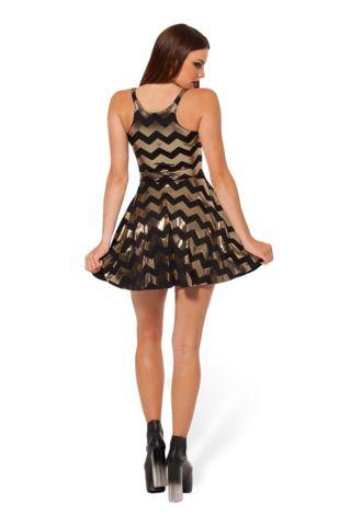 Zig Zag Gold Reversible Skater Dress - LIMITED
