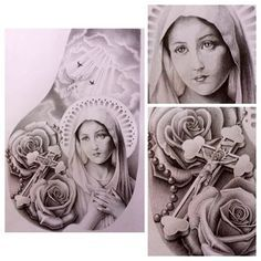 Mother Mary Catholic chest piece #mary #roses #rosary #jesus #cross #heaven…