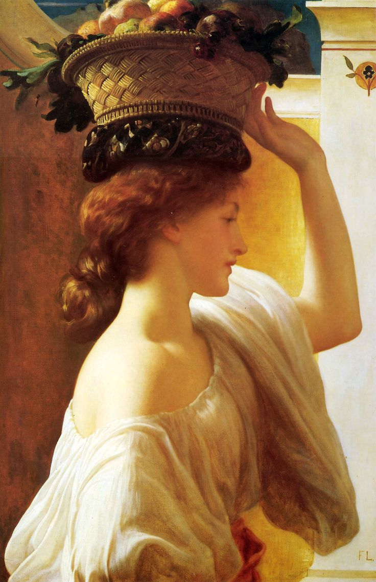 Certified international parisian fruit canister by susan winget set - A Girl With A Basket Of Fruit Frederic Leighton