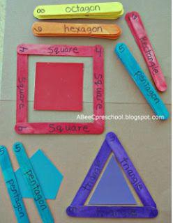 Juego para reforzar el reconocimiento de las formas geométricas.  Great idea for reinforcing shape recognition.  Might add a piece of yarn or chenille sticks to make a circle.