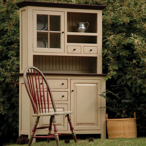 Country Kitchen Hutches: 2 Pc Handcrafted Pine Vintage Country Hutch In Various