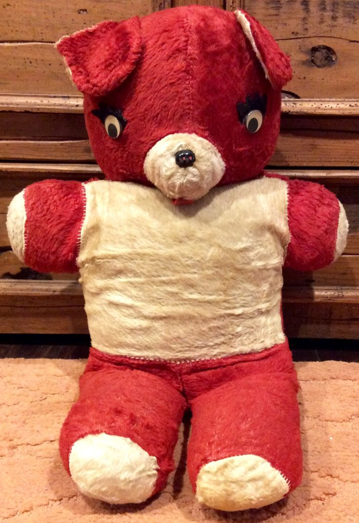 "Large 22"" Vintage Red and White Teddy Bear Plushy, Plush Teddy Bears, Antique Teddy Bear, Vintage Plush Toys, Creepy Teddy Bear, Bears by Lalecreations on Etsy"