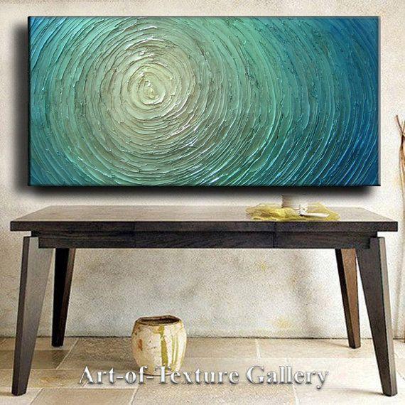 Gran nave listo la pintura 48 x 24 personalizado Original abstracto textura gruesa azul plata blanco agua tallada Je Hlobik de pintura al óleo abstracta