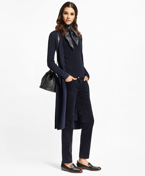 Pure cashmere makes this classic duster cardigan super soft and unbelievably comfortable.