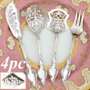 Lovely Antique French Hallmarked Silver 4pc Hors d'Oeuvre Serving Implement Set, Box