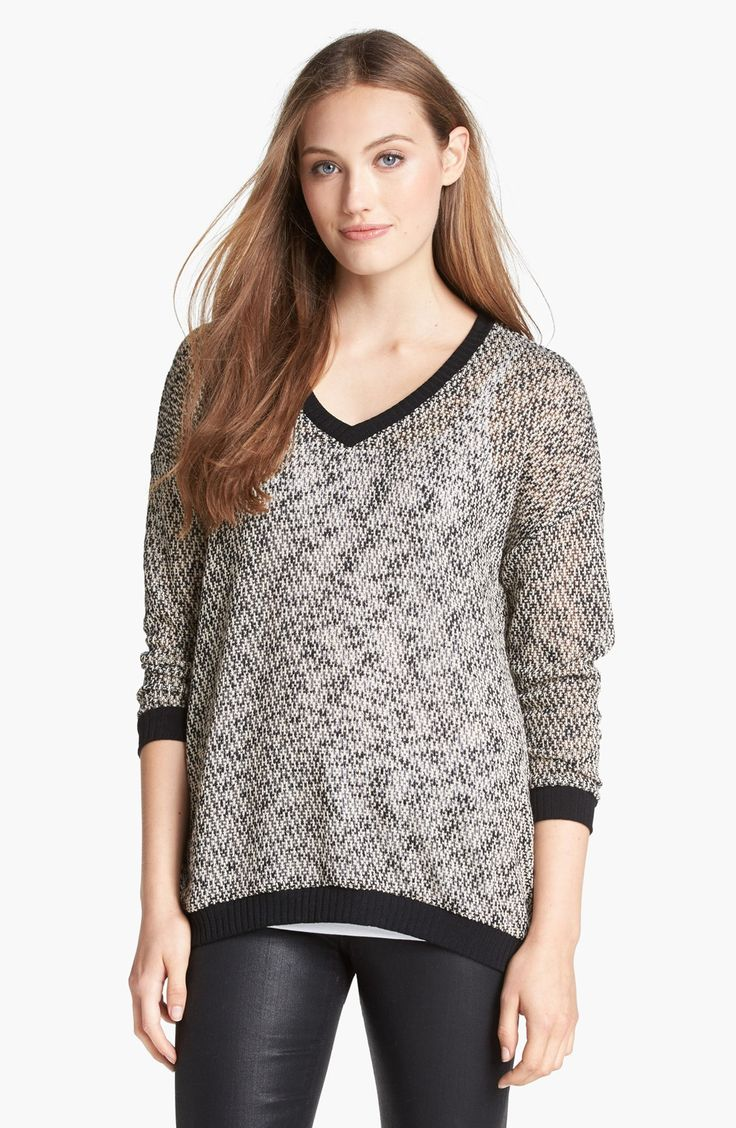 Olivia-Moon-Marled-V-Neck-Sweater-For-Women-
