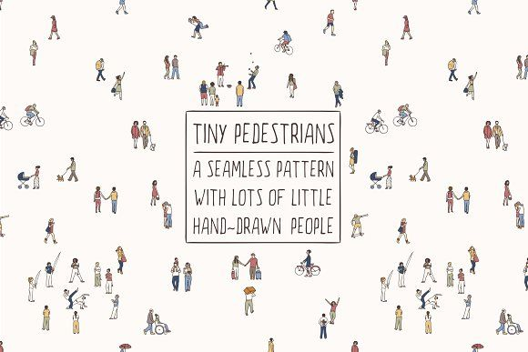 Tiny Pedestrians - Seamless Pattern by Franzi on @creativemarket