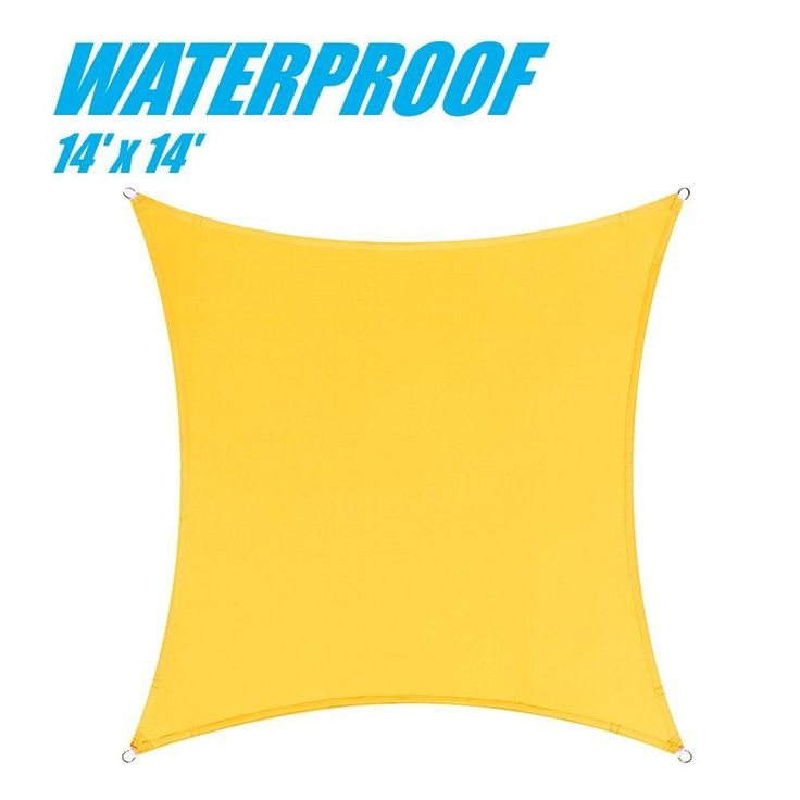 100% BLOCKAGE Waterproof 14' x 14' Sun Shade Sail Canopy Square Yellow