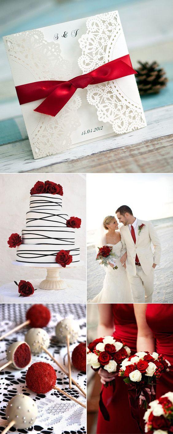 Faire-part mariage sur le thème rouge - pochette avec une découpe laser blanche et un ruban rouge pour un style moderne et romantique
