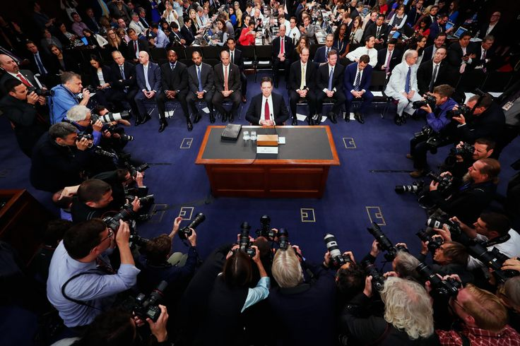 James B. Comey, the former F.B.I. director, testified before the Senate Intelligence Committee on Thursday. Credit Doug Mills/The New York Times.