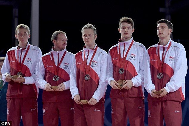Liam PITCHFORD, Paul DRINKHALL, Andrew BAGGALEY, Daniel REED, Sam WALKER [Silver], [Men's team] Table Tennis England