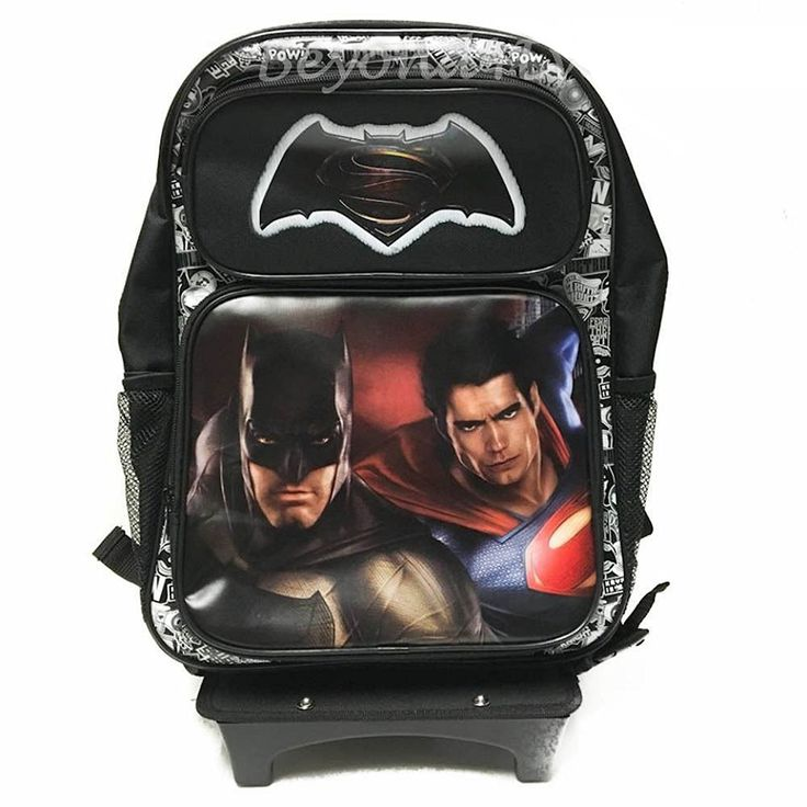 NEW DC Batman v Superman Movie Large 16' Back to School Black Rolling Backpack-Black >>> Continue to the product at the image link.