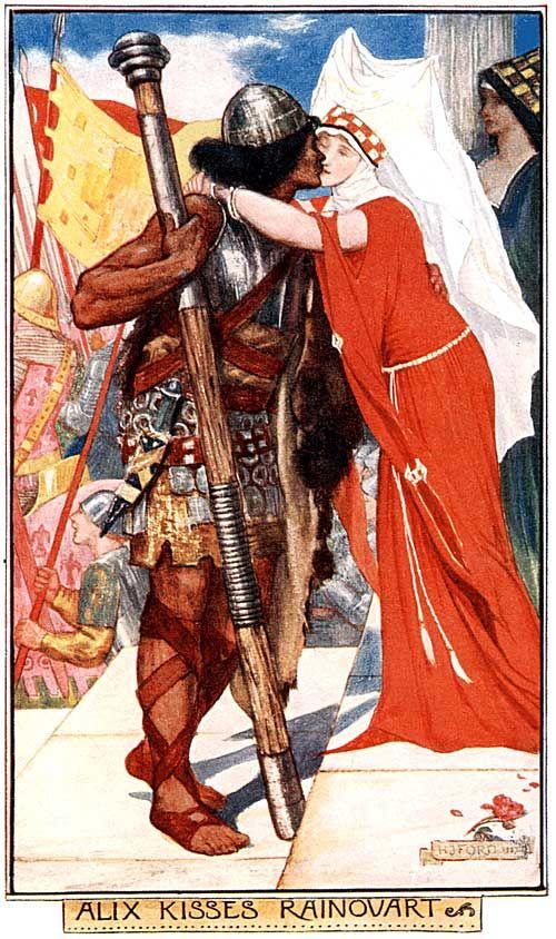 HJ Ford - Alix kisses Rainouart | Rainouart au tinel, personnage de chanson de geste (Aliscans) du cycle de Guillaume d'Orange : frère de Guibourc, il épouse à la fin d'aventures parfois burlesques Aelys (Alix), fille du roi de France.: