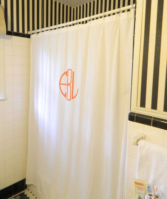 DIY monogrammed shower curtain.. I would do this if I did not have glass shower doors. Still pinning for future reference. #showercurtain #preppy #monogram MY MONOGRAM!