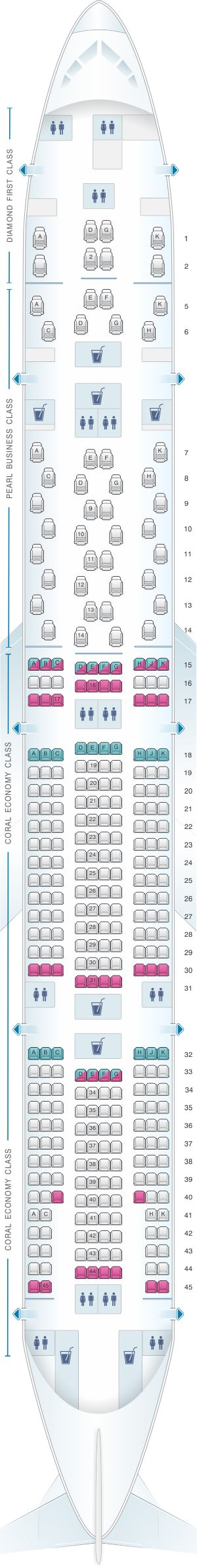 Seat Map Etihad Airways Boeing B777 300ER 3 class