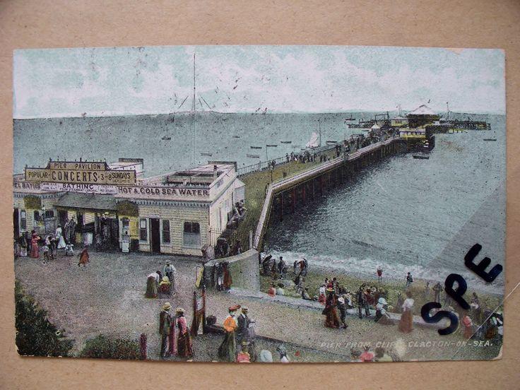 1908 pu Ross Series pc Pier From Cliffs Clacton On Sea Essex (ref 167)