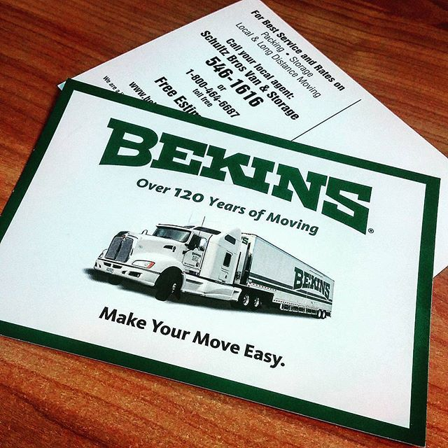 These postcards for Bekins movers is clean and concise. Logo on the front in the company colors and information on the back.