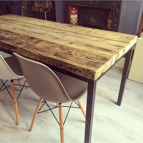 Here is our 6-8 seater dining table Made from reclaimed timber and steel The top is made from solid 2 1/2 thick timber. The grain and look of the wood is stunning. It will vary from table to table as each table is made for each customer We take alot of care to keep all the interesting features of this aged timber Strong steel box section base to keep sturdy and solid The top in the pictures has been stained, but we offer many different finishes These tables are of a very high standard an...