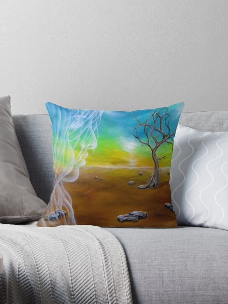 Throw Pillow,  home,accessories,sofa,couch,decor,fantasy,landscape,angel,fairy,spirit,face,sky,girl,woman,female,white,long,hair,colorful,blue,brown,cool,impressive,beautiful,fun,fancy,unique,trendy,artistic,modern,awesome,fahionable,unusual,for,sale,design,presents,gifts,ideas,redbubble