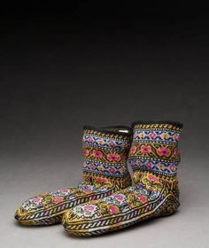 Cotton, knitted, 10 cm x 20 cm x 10 cm, 4 in x 8 in x 4 in. Place Made & Culture	Turkey, Iraq, Iran, Syria. Kurdish Group. Date Made	c. 1960...