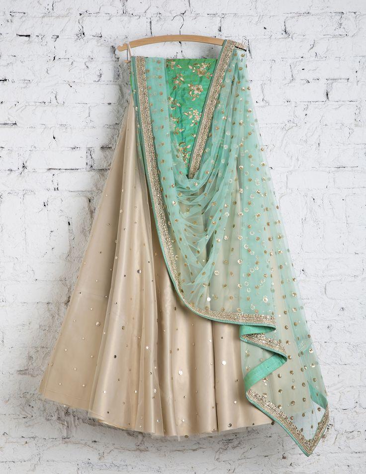 SwatiManish Lehengas SMF LEH 138 17 Goldstone lehenga with aqua dupatta and turquoise blouse