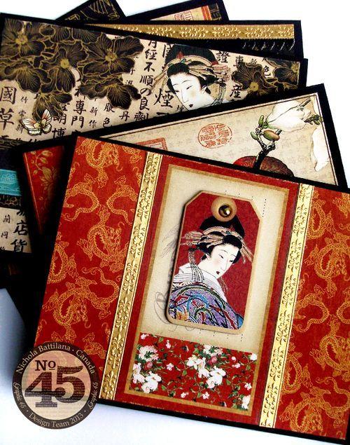 handmade cards using Graphic45 NBattilana Birdsong ,,, Belt Cards ,,, gorgeous!! ... Asian theme ...