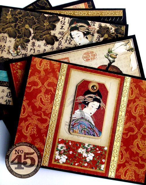 handmade cards using Graphic45 NBattilana Birdsong ,,, Belt Cards ,,, gorgeous!! ... Asian theme ...