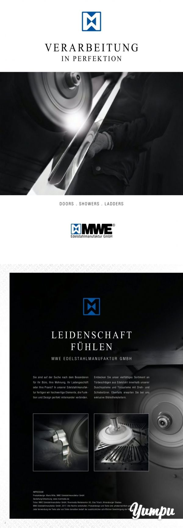 MWE_Broschüre - Verarbeitung in Perfektion - MWE Manufaktur für Türsysteme, Duschsysteme und Leitern aus Edelstahl. Das futuristische Design spricht für sich, die Verarbeitung sowieso.