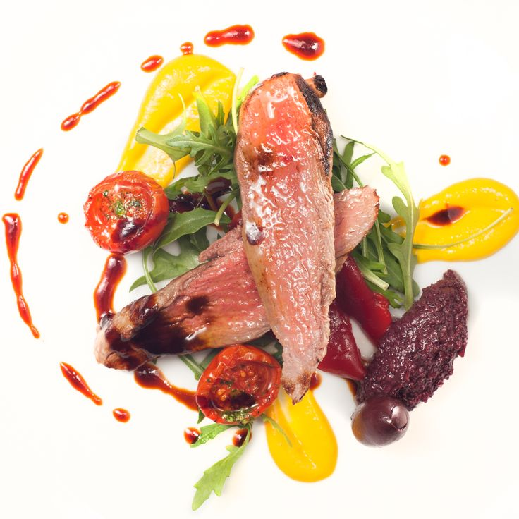 Irish Food - Pan roasted Lamb fillet, yellow pepper puree, black olive tapendade, overnight cherry tomoatoes at The g Hotel Galway