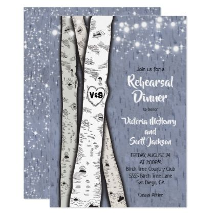 Twinkle lights Birch Tree Rehearsal Dinner Invites - invitations custom unique diy personalize occasions