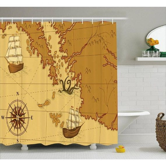 Old Map Nautical Shower Curtain Custom Made DEsign