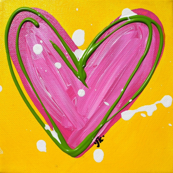 art art art art art art art.   ....Hot Pink Heart Original 6X6 canvas painting by jenkennedydesigns, via Etsy.