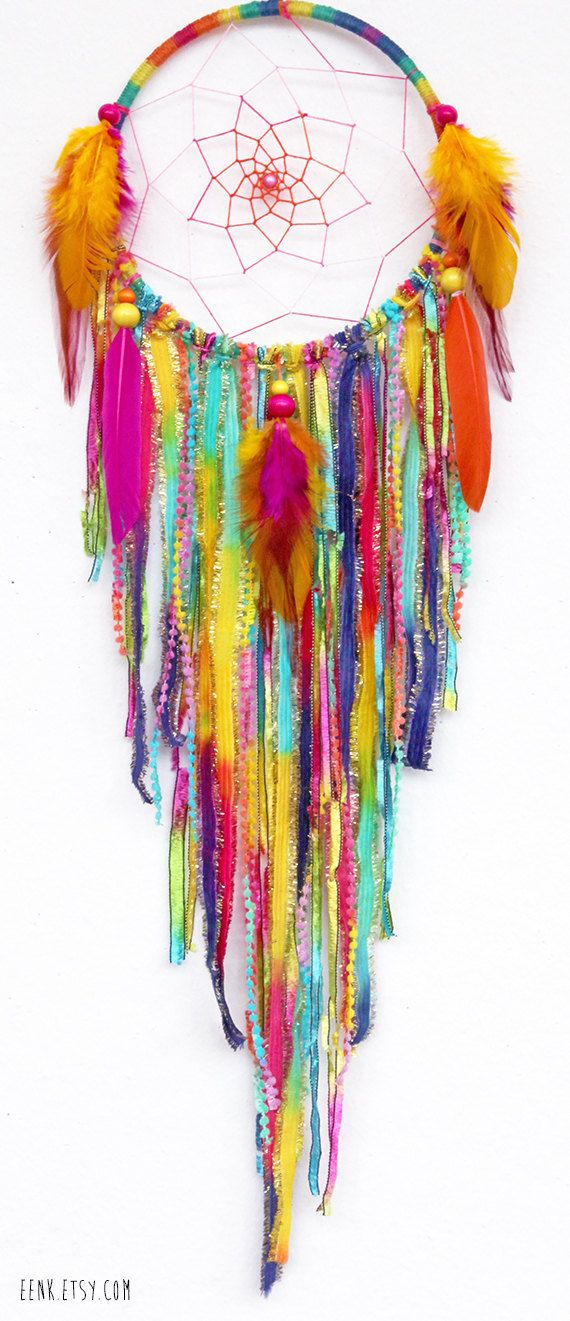 Sherbert Fairy Native Style Woven Dream Catcher by eenk on Etsy, $59.00
