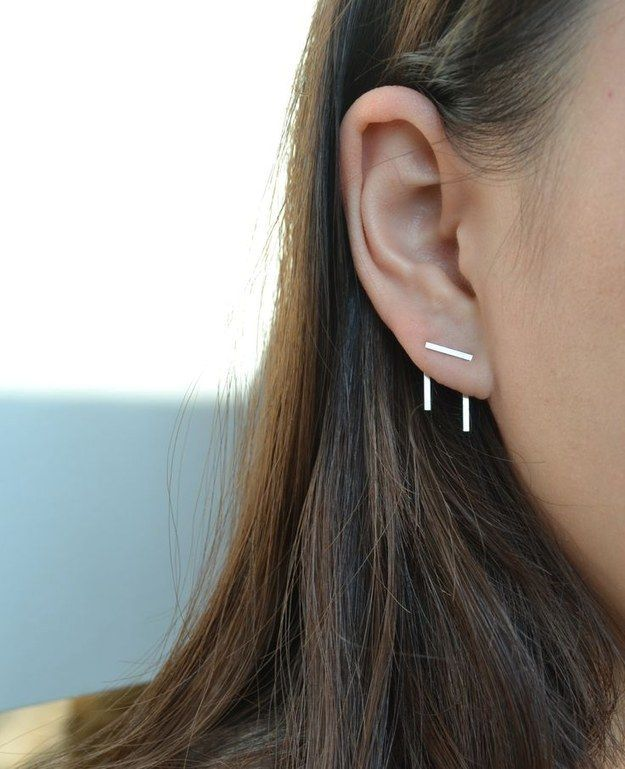 Gestalt earring - cool and minimalist specifically for people with double piercings