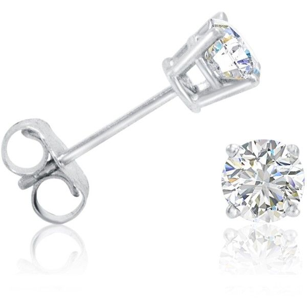 1/2ct tw.Round Diamond Stud Earrings set  in 14K White Gold ($200) ❤ liked on…
