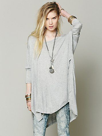 Big Dipper Oversized Tee | Slouchy, oversized tee with tall slit at each bottom side and more slim fitting sleeves. High-low hem. We love how casual cool this tee is and how it can be styled in so many different ways.